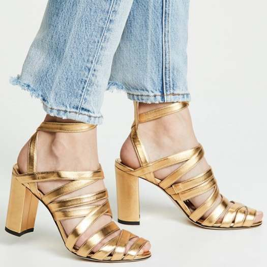 Gold Strappy Nadege Sandals