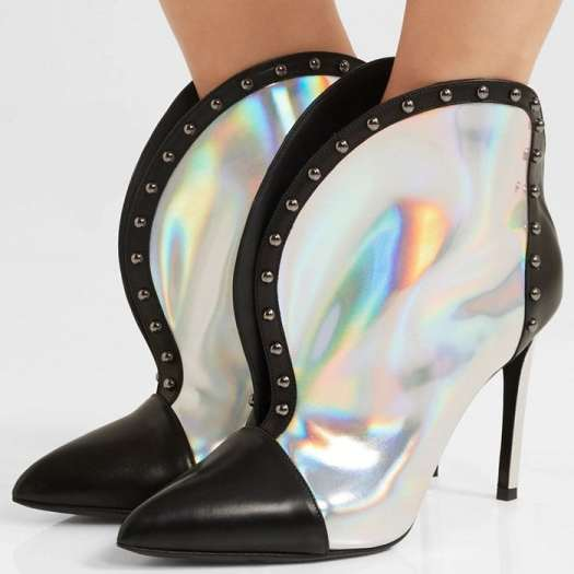 Inspired by the idea of what people would be wearing in 2050, this futuristic pair has been made in Italy from black and holographic iridescent leather and set on pin-thin stiletto heels