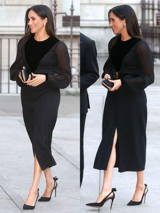 Meghan Markle in a Givenchy sheer-sleeved velvet-paneled dress and Aquazzura 'Deneuve' pumps.