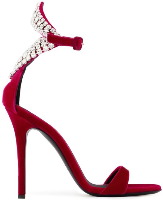Red Velvet Sandals With Crystals