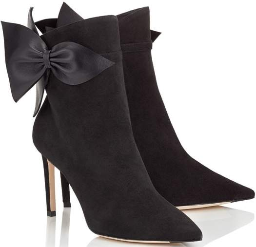 The sharp, pointed silhouette of Jimmy Choo's Kassidy 85 ankle boots is softened by the addition of large leather bows at the neck