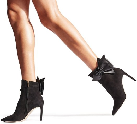 Black Suede Kassidy Ankle Booties With Leather Bow