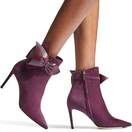 Purple Leather-Trimmed Suede Boots