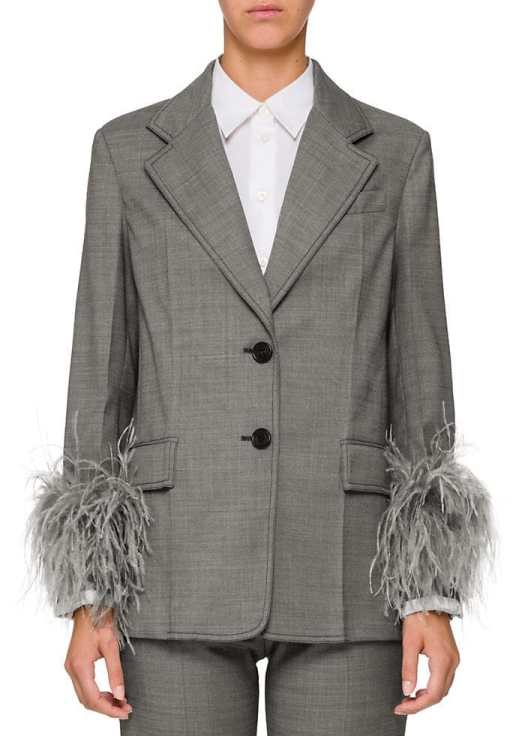 This two-button blazer is cut from grey mélange wool-blend suiting twill