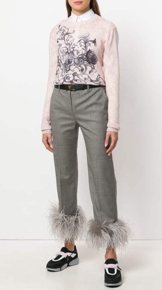 Prada Embellished Cropped Trousers