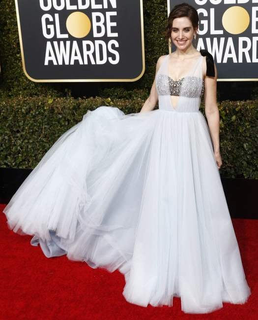 Alison Brie wears a powder blue Vera Wang gown on the red carpet