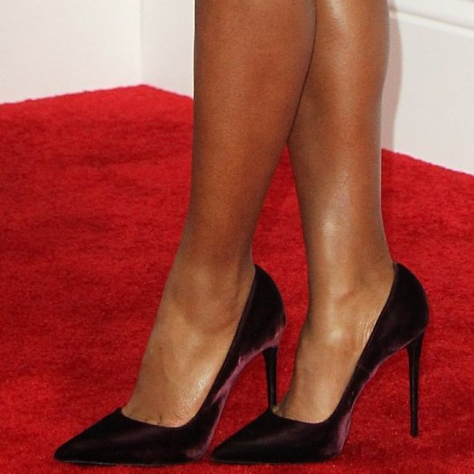 Janelle Monáe's sexy feet and legs in Le Silla shoes