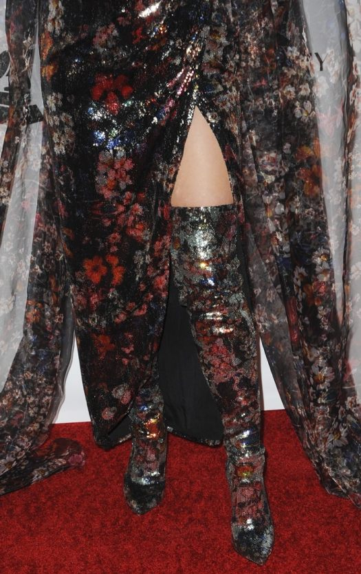 Katy Perry's costumey floral pattern high heeled Elie Saab boots