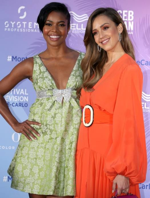Gabrielle Union and Jessica Alba promoting their series L.A.'s Finest during the 2019 Monte Carlo TV Festival