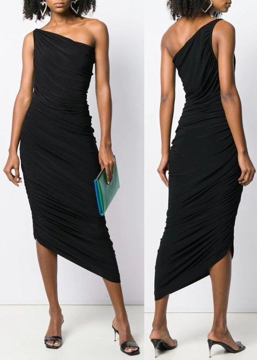 Black fitted one-shoulder dress from Norma Kamali featuring a sleeveless design, an asymmetric hem and a mid-length