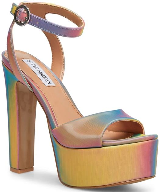 A lofty platform amplifies the retro appeal of this standout rainbow ankle-strap sandal