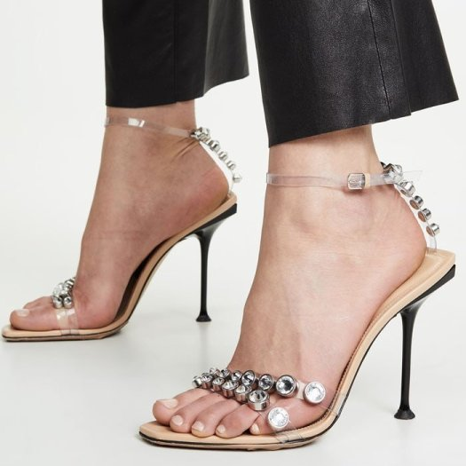 Sergio Rossi Milano jeweled PVC-strap sandals