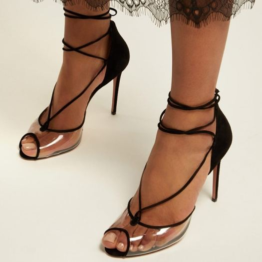 Aquazurra's black suede Magic 105 sandals are a reflection of the label's glamorous approach to design