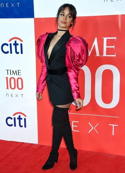 Camila Cabello transforms a black Alexander McQueen Fall 2019 blazer into a mini dress