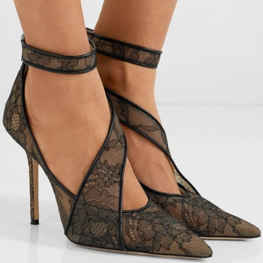 Step into these gauzy black floral lace and leather-trimmed Hadlea pumps for dark romance come evening