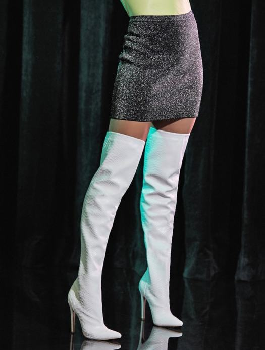 White sexy over-the-knee boot featuring a sky-high stiletto heel and zipper closure