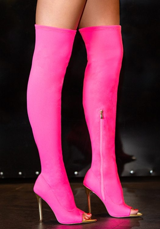 A sexy stretch-to-fit over-the-knee boot featuring a peep toe, stiletto heel, and zipper closure