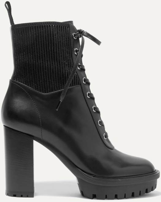 Gianvito Rossi Martis 90 Lace-Up Leather Ankle Boots