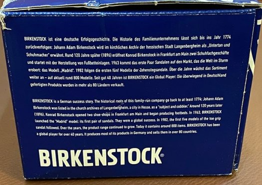 One side of the box shows a short text about Birkenstock's history