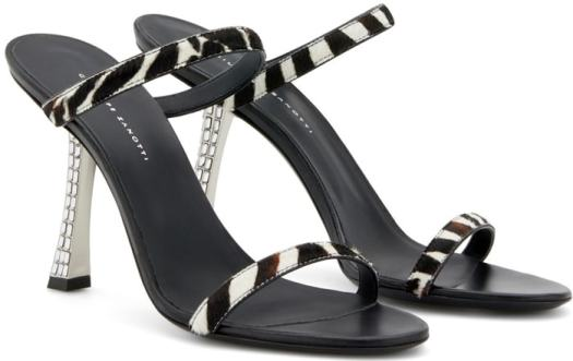 Farrah sandals with a crystal-embellished heel, a branded insole, a slip-on style and two front straps