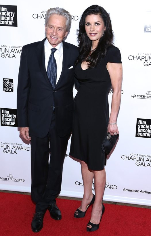 Michael Douglas and Catherine-Zeta Jones at the 40th Annual Chaplin Award Gala on April 22, 2013
