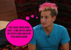 Frankie Grande reveals he is Ariana Grande's sister on Big Brother 16 episode 22