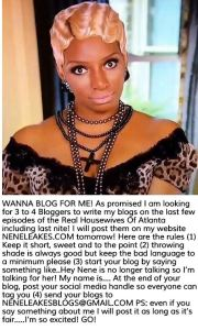 NeNe Leakes posts a want ad for bloggers to write her RHOA Bravo TV Blogs
