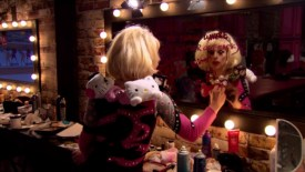 Katya writes her lipstick message on the mirror after being eliminated from RuPaul's Drag Race season 7.
