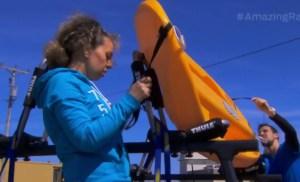 Sabrina Mercuri and NicLaMonaca have a hard time loading their truck on Amazing Race Canada 3