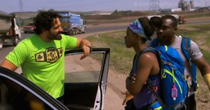 Ope Fagbonbe and Simi Fagbongbe with with Nick Foti and Matt Guinta over cabs on The Amazing Race Canada