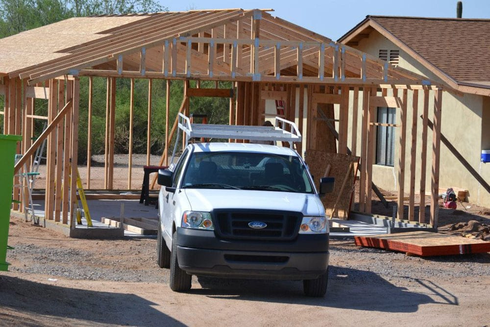 garage addition in construction