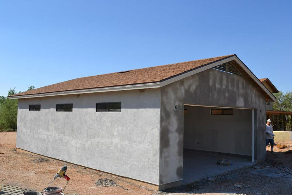 new stucco on garage addition