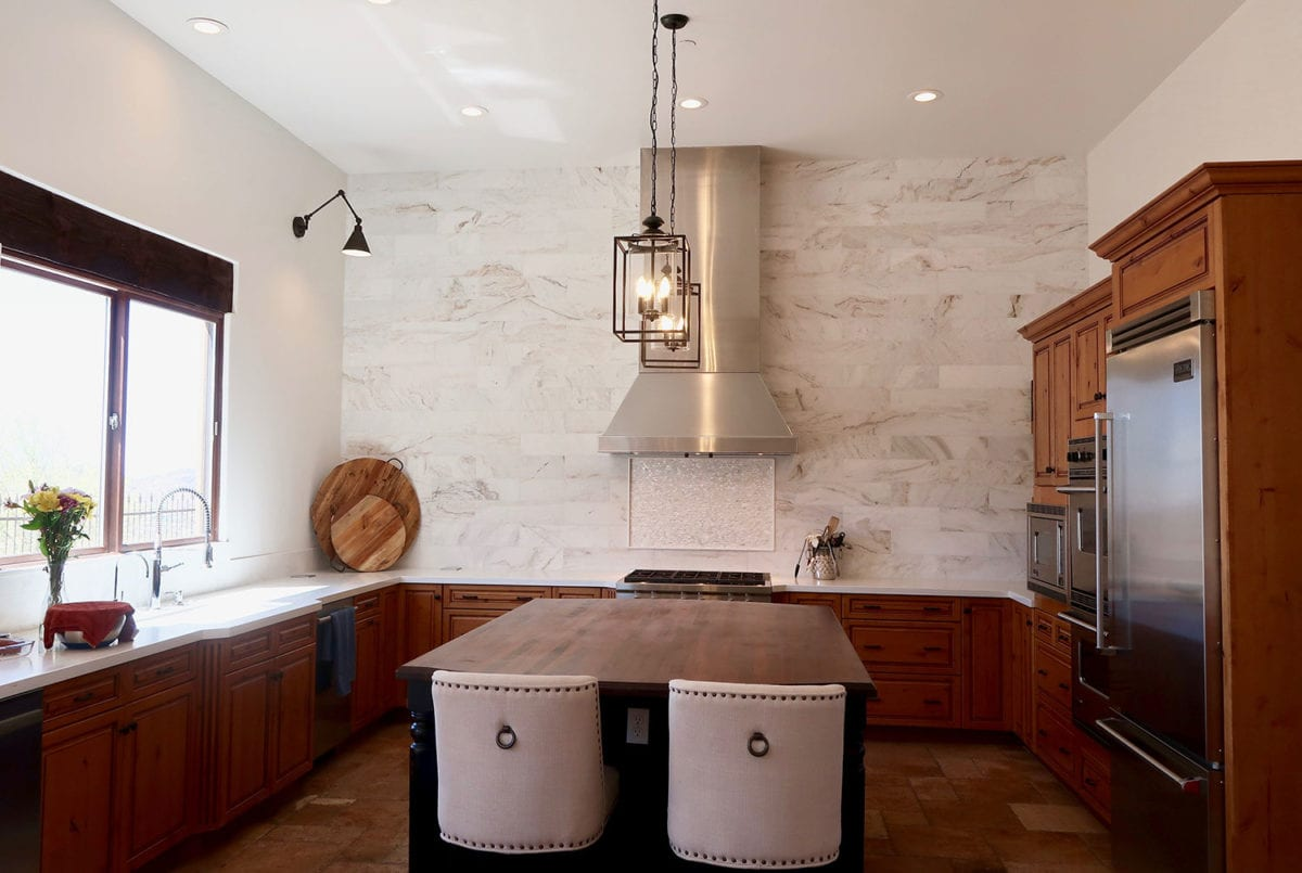 kitchen remodel with marble wall