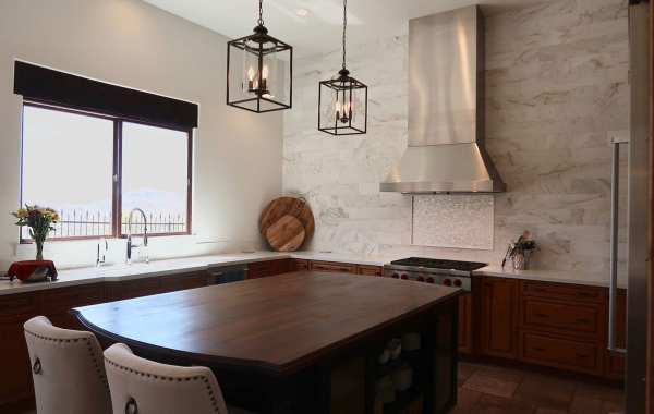 kitchen remodel with new fixtures, cabinets, and countertops