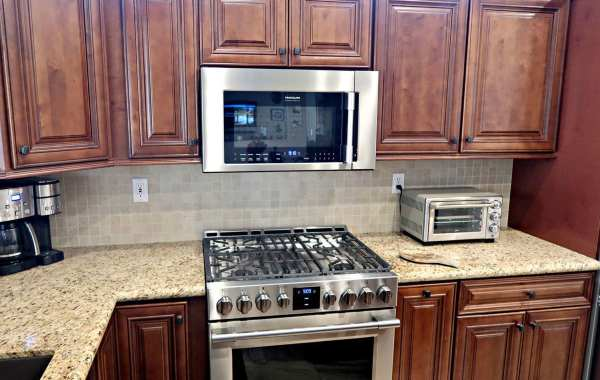 new cabinets, kitchen and microwave