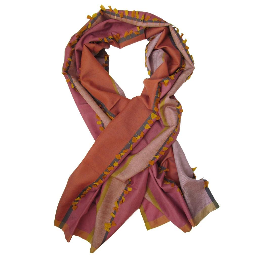 Luxury Silk Amp Cashmere Hand Woven Long Scarf Petal