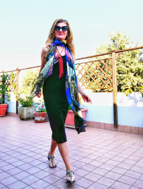 little black dress and foulard