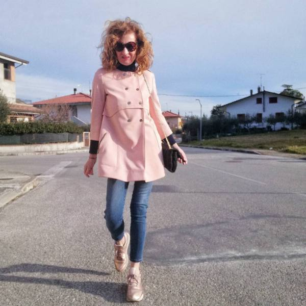 giacca rosa lunga