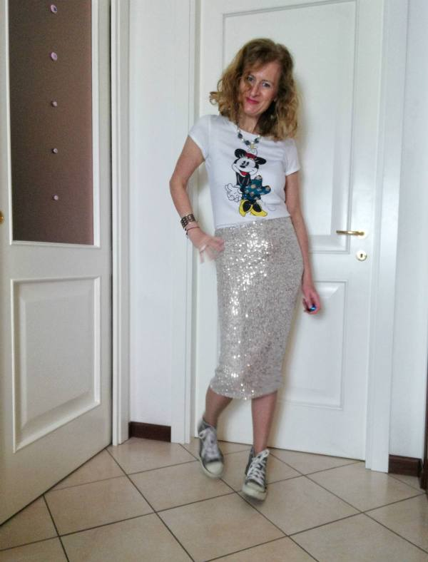 sequin skirt and Tee