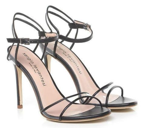 sandalo tacco alto Sergio Levantesi in Pvc e pelle nera