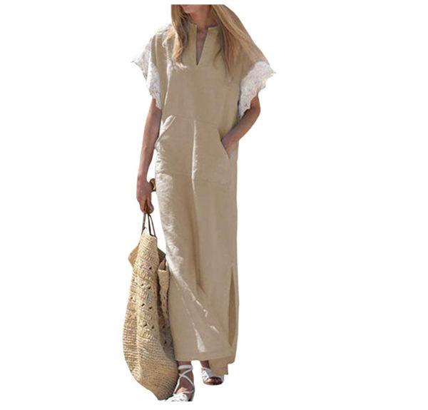 abito lungo in lino, beige e con decorazioni giro manica, Euro 14,95 Amazon