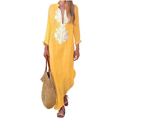 abito lungo in lino giallo euro 17,99