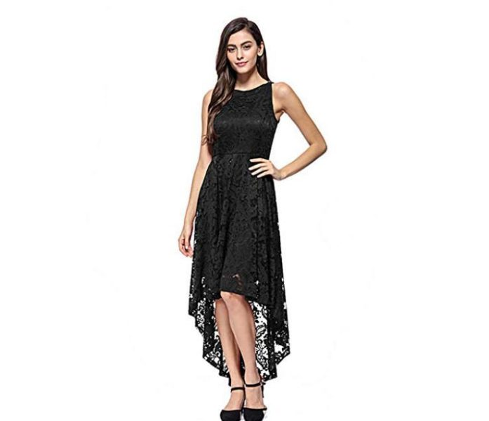 abito nero elegante in crochet