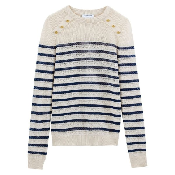 striped sweater with buttons 34,30 Euros (it was 49 Euros), on La Redoute Fr online