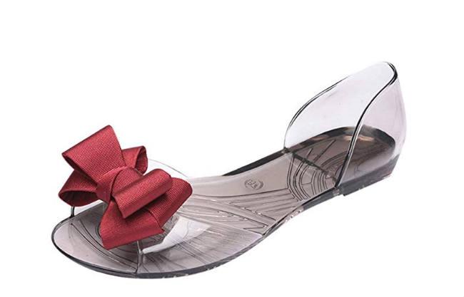 sandalo di gomma trasparente con fiocco rosso