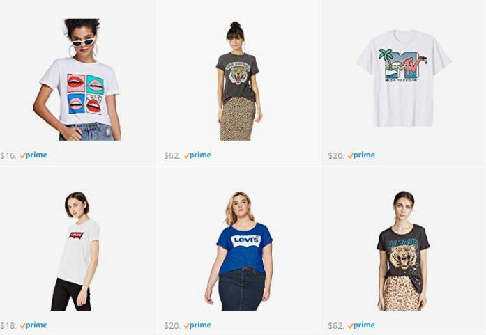 graphic tees, many prints and logos, prices from 11 Euros on my Amazon storefront