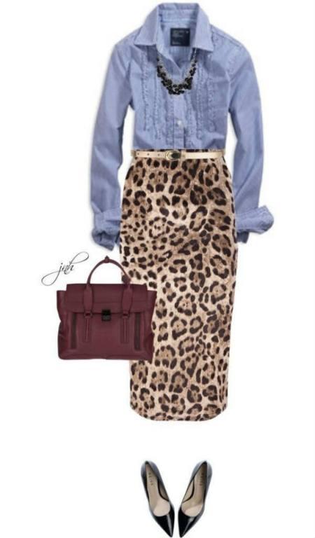 gonna leopardata e camicia di jeans, su Pinterest