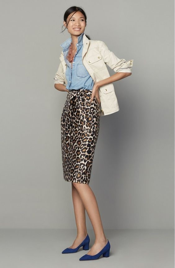 leo print skirt and blazer, office look seen on Pinterest