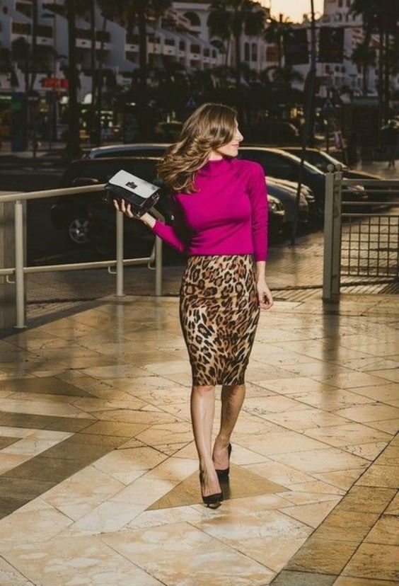 leo print skirt and hot pink sweater, seen on Pinterest