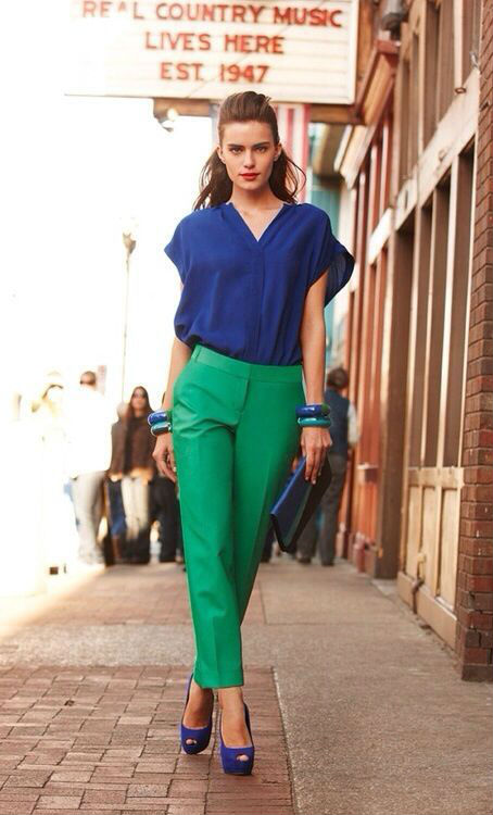 green pants and blue blouse, Pinterest